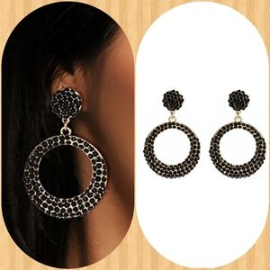 Amrita Singh jet Black  Broadway Drop Earrings